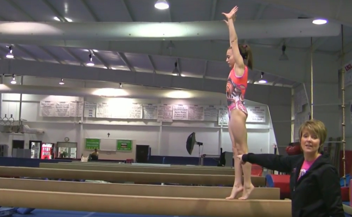 Gymnastics drills - Mary Lee Tracy, Punch front, front tuck on beam